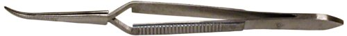 "Squadron Products 4 1/2"" Cross Action Curved Tweezer"