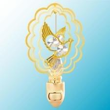 Dove in Ruffled Ovals Night Light..... Clear Swarovski Austrian Crystals - 1