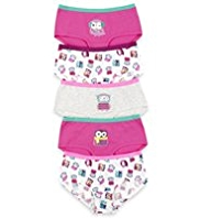 5 Pack Cotton Rich Quirky Owl Print Shorts