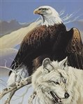 Eagle & Wolf Queen Mink Blanket front-890038