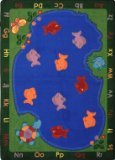 "Joy Carpets Kid Essentials Early Childhood Oval Fishin' Fun Rug, Multicolored, 3'10"" x 5'4"""