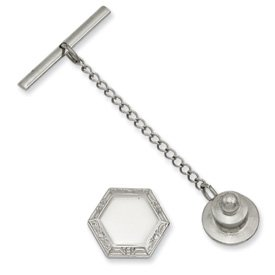 Rhodium Hexagon Tie Tack - JewelryWeb