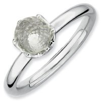 1.3ct Cool Silver Stackable White Topaz Briolette Ring. Sizes 5-10 Available