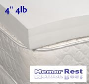 """4"""" 4Lb. Memorrest Visco Elastic Memory Foam Mattress Pad Topper Overlay (Queen Size)"""