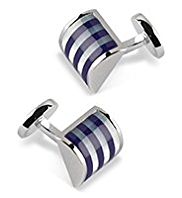 Convex Striped Cufflinks with Semi-Precious Stones