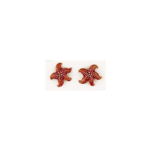 Reyes del Mar 14K Gold Starfish Enamel Earring