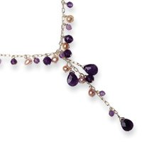 Sterling Silver Amethyst/Pink Cultured Pearl Dangle Necklace - 16 Inch