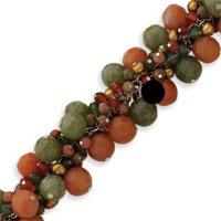Sterling Silver Carnelian/Jade/Unikite/Prehnite/Cultured Gold Pearl Bracelet - 7.5 Inch