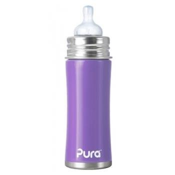 Pura Kiki Stainless Infant Bottle Stainless Steel with Natural Vent Nipple, 11 Ounce, Lavender, 3 Months+