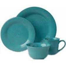 Certified International Metro 16-Piece Dinnerware Set, Aqua, Set of 4