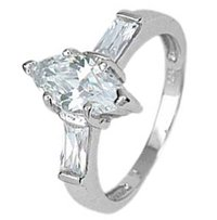 Sterling Silver Engagement Ring With Marquise Cubic Zirconia and Two Baguette side stones
