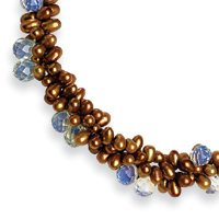 5-5.5mm Pearl Crystal Briolettes Necklace - 16 Inch - Pearl Clasp - JewelryWeb