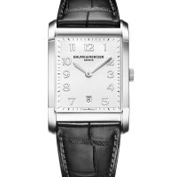 Baume and Mercier Silver Dial Black Leather Mens Watch 10154