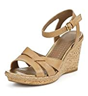 Footglove™ Fashion Leather Wide Fit Ankle Strap Wedge Sandals