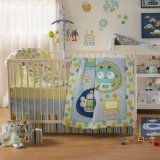 Lolli Living Baby Bot Crib Set, Blue/Green, 4 Count
