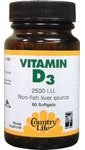Country Life Vitamin D3 2500 Iu, 200 Softgels
