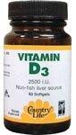 Country Life Vitamin D3 2500 Iu, 200 Softgels