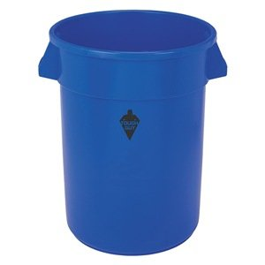 Round Container, 20 Gal, 19.5 In, Blue
