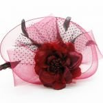 320mm red Hair fascinator,feather face veil hairband fascinator hats,Headdress flower,hair clip,top hat hair hoop