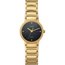 Rado R30528713 Watch Centrix Jubile Ladies - Black Dial Stainless Steel PVD Gold Plated Case Quartz Movement