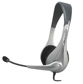 Cyber Acoustics Stereo Pc Headset W/ In-Line Volume & Mute Control Silver Noise Canceling