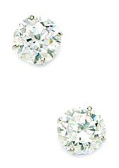 14k White Gold 6mm Round CZ Screwback Earrings - JewelryWeb
