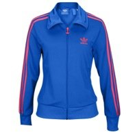 Adidas Firebird Women`s Track Jacket - Blue Bird / Blaze Pink (Large)