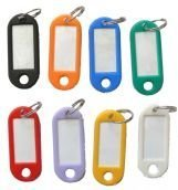 16-plastic-key-tag-labels-with-name-cards-2-sets-each-of-8-different-colours