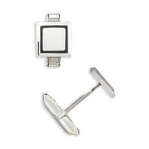 Square Enamel Rim Cuff Links 12mm Square Sterling Silver With Black Enamel Accent Cuff Links