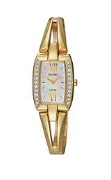 Seiko Solar Gold-tone Mother-of-pearl Dial Women's watch #SUP086