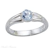 Sterling Silver Round Blue Topaz Solitaire Ring Size 9