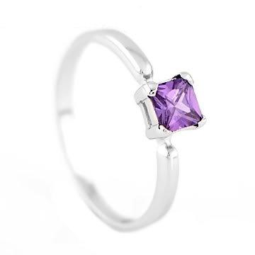 Silver Princess Cut February Amethyst Birthstone Child Ring Size 4