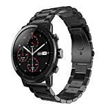 LeafBoat Compatible Amazfit Stratos Band/Galaxy Watch 46mm,Metal Replacement Band Wristband Accessories Strap Compatible Amazfit Stratos/Ticwatch pro/Gear S3 Frontier/Galaxy Watch 46mm(Black) (Color: black)