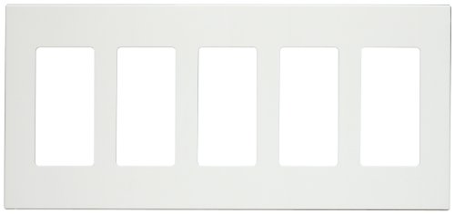 Leviton 80321-SW 5-Gang Decora Plus Screwless Snap-On Wallplate, White