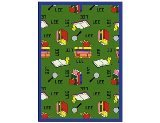 "Joy Carpets Kid Essentials Language & Literacy Spanish Bookworm Rug, Green, 5'4"" x 7'8"""