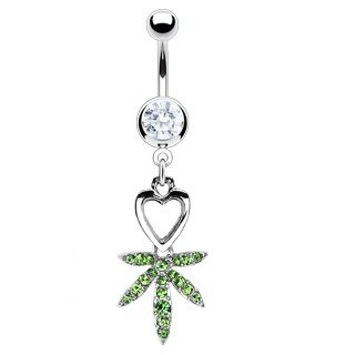 Green Pot Leaf Dangle Belly Bar