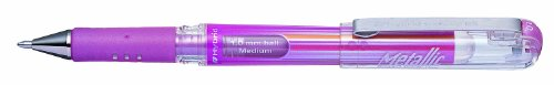 Pentel Hybrid Gel Metallic Grip DX K230-MPO - 12 Bolígrafos híbridos de punta redonda, tinta pigmentada, color rosa