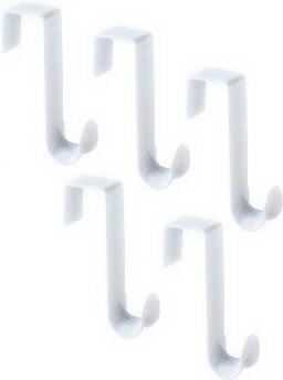 5-Pack Over The Door Hooks Hangers White