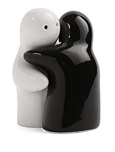 Hugging Salt and Pepper Shakers Pots Set Black & White