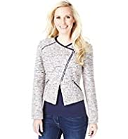 Petite Off Centre Zip Tweed Biker Jacket