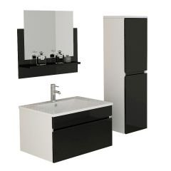 Gastein in Black High Gloss Bathroom Set Bathroom Sink Unit
