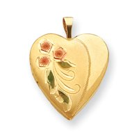 14k Gold Filled Tri-color 2-Frame Flower Heart Locket - JewelryWeb