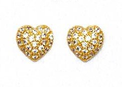 14ct Yellow Gold 1.5 mm Round CZ Pave Heart Post Earrings