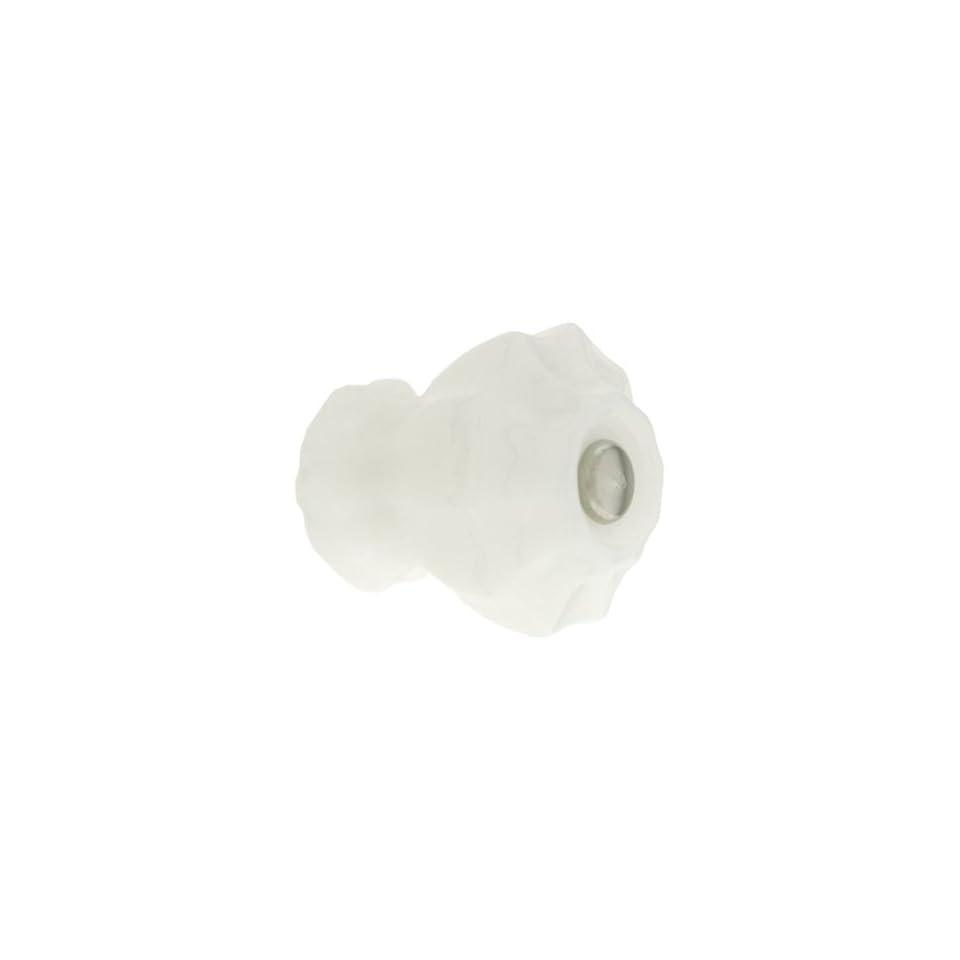 Medium Fluted Milk White Glass Cabinet Knob With Nickel Bolt. Kitchen Glass Knobs.