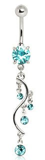 Aqua Crystal Four Tier Vine Dangle Belly Bar Navel Ring