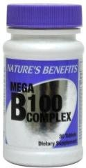 B 100 Complex Vitamin Mega Tabs Nature's Benefit Expires 5/15 Case Pack 24