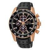 Seiko Solar Chronograph Black Dial Leather Strap Men's Watch SSC274 (Color: Black)