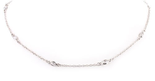 925 Sterling Silver Florence Inspired with CZ Stone Necklace