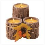 Triple Bark Candle Set Of Three Candles Wood Scent
