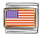 United-States Flag Italian Charm Bracelet Link